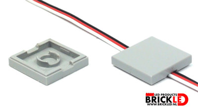 BrickLED 10 x Wegwerk tegel 2x2 - Licht Grijs - Verlichting voor LEGO
