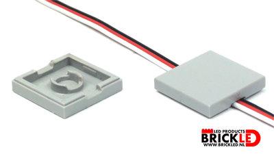 BrickLED 10 x Wegwerk tegel 2x2 - Donker Grijs - Verlichting voor LEGO